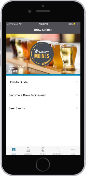 Brew Moines App home