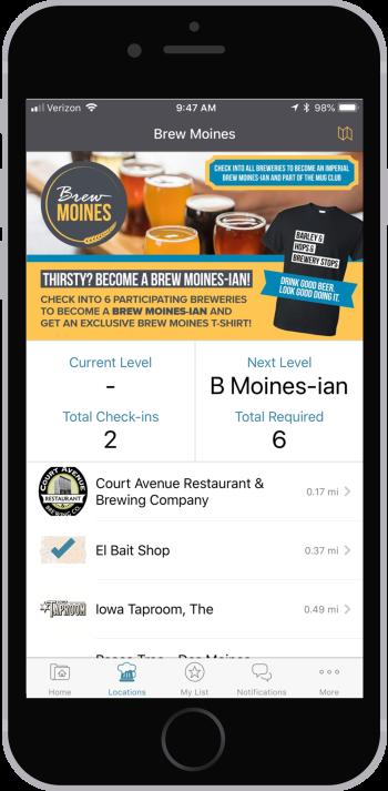 Brew Moines app locations