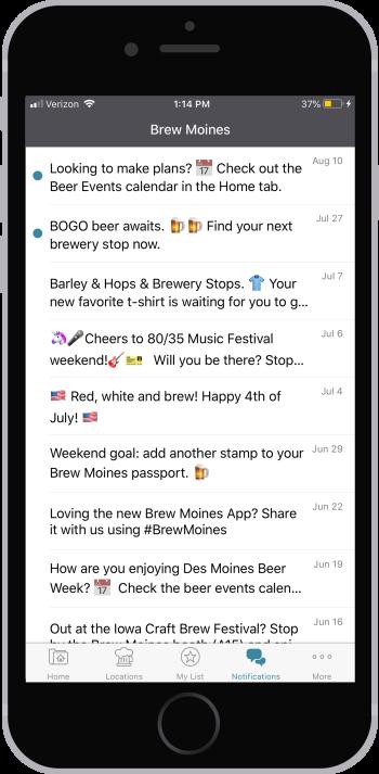 Brew Moines app push notifications