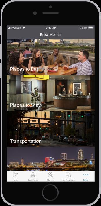 Brew Moines app more screen