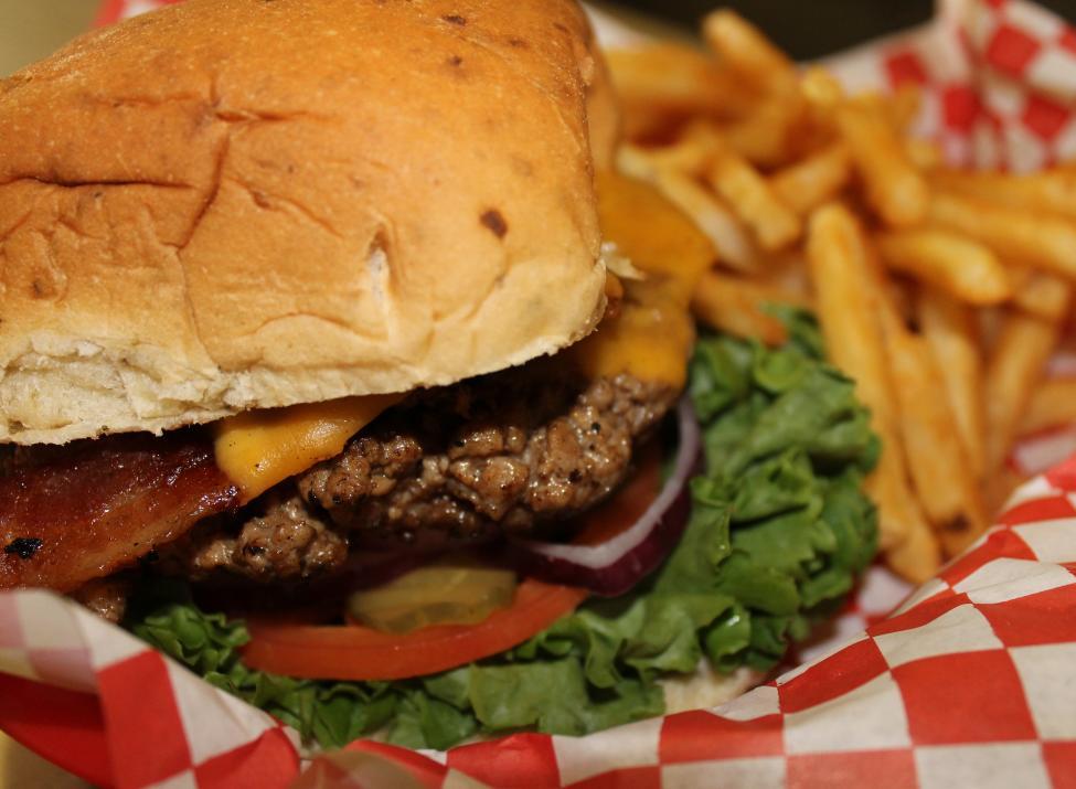 Harley D Burger with jalapeno bun