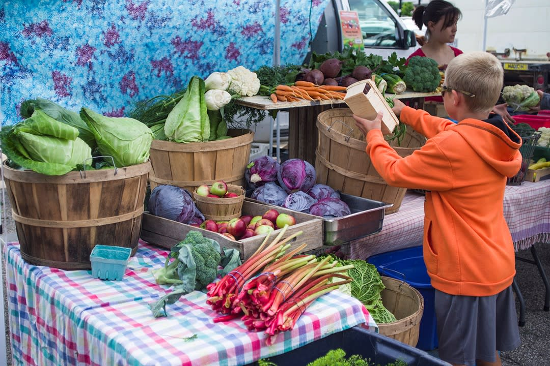 The Rochester MN Downtown Farmers Market is open outdoors May - October and indoors November - April.