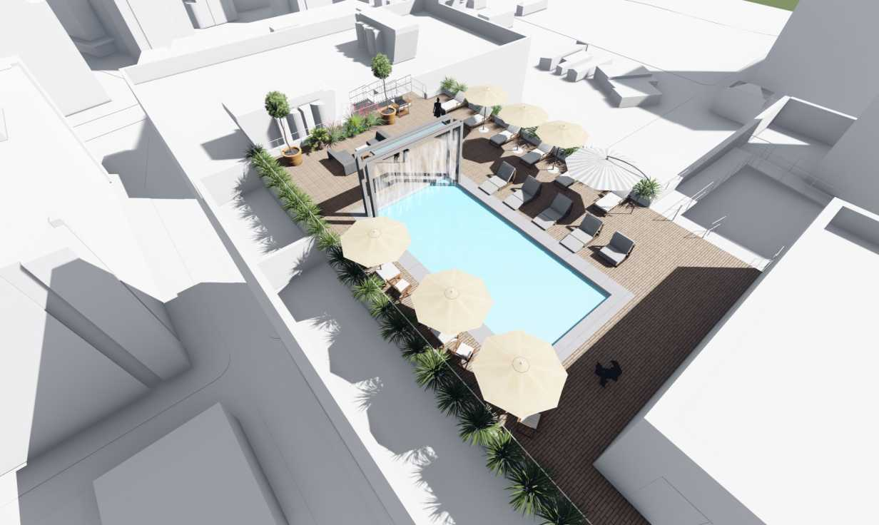 Aerial Rendering of Rooftop Pool Oasis at Jung