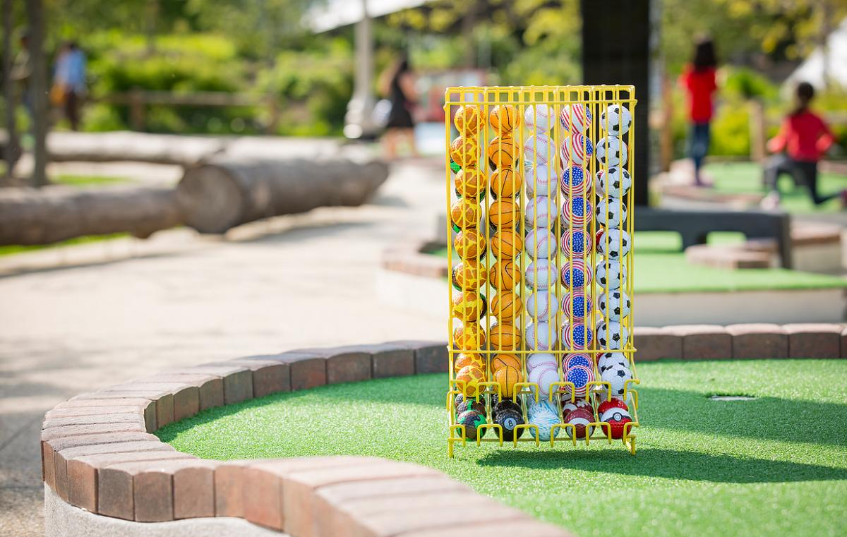 Golf balls from City Mini Golf at Maggie Daley Park