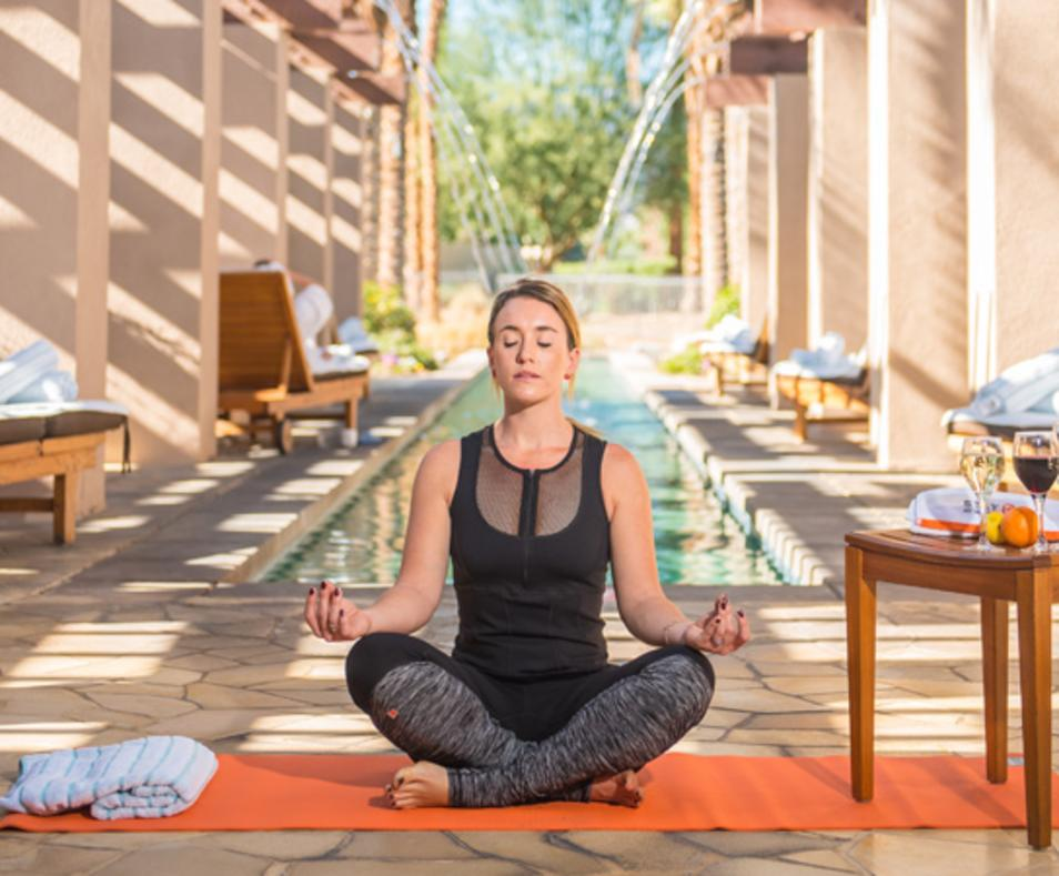 Yoga & wine by the reflection pool