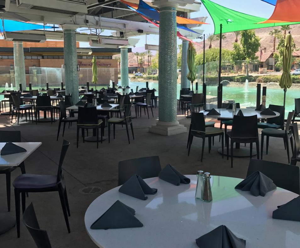 Large patio on the River
