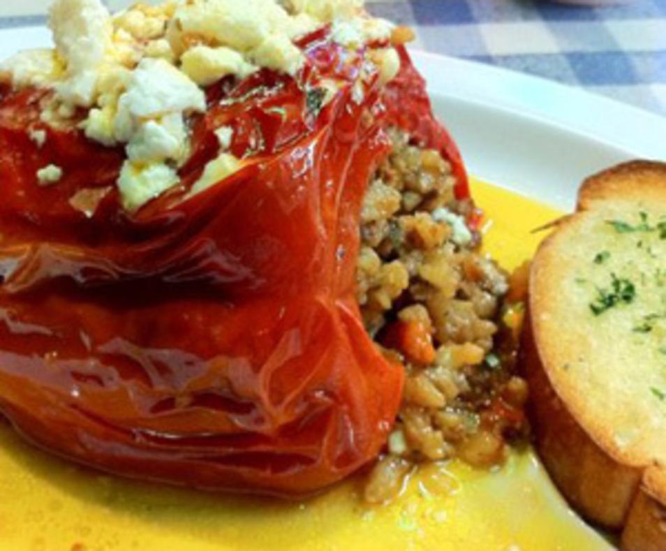 Stuffed red bell pepper