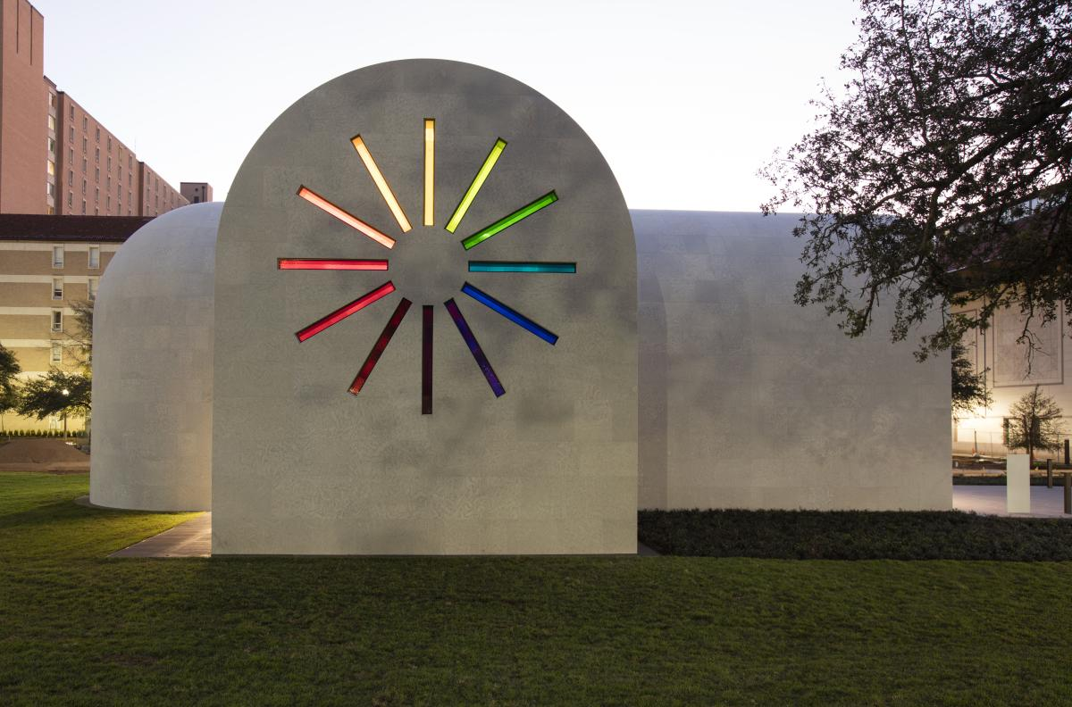 Ellsworth Kelly building at the Blanton Museum of art West façade with colored glass windows