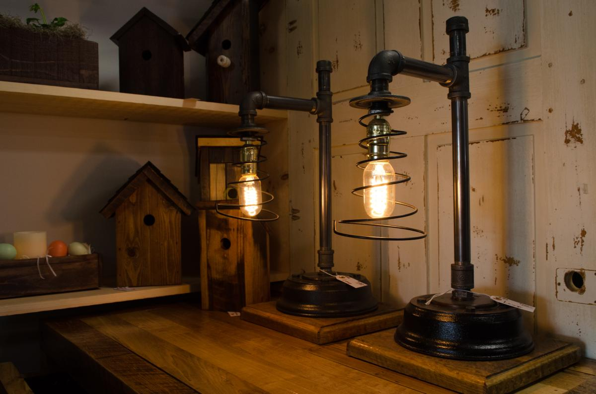 These one-of-a-kind lamps are repurposed from old plumbing pipes.