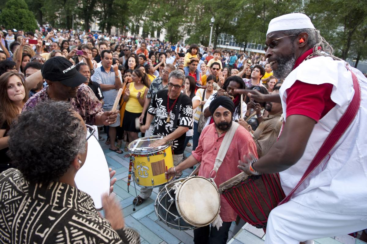 Drummers playing at Chicago SummerDance