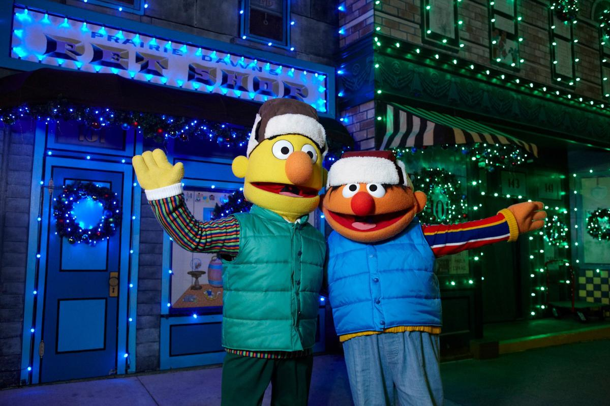 Bert and Ernie during A Very Furry Christmas at Sesame Place