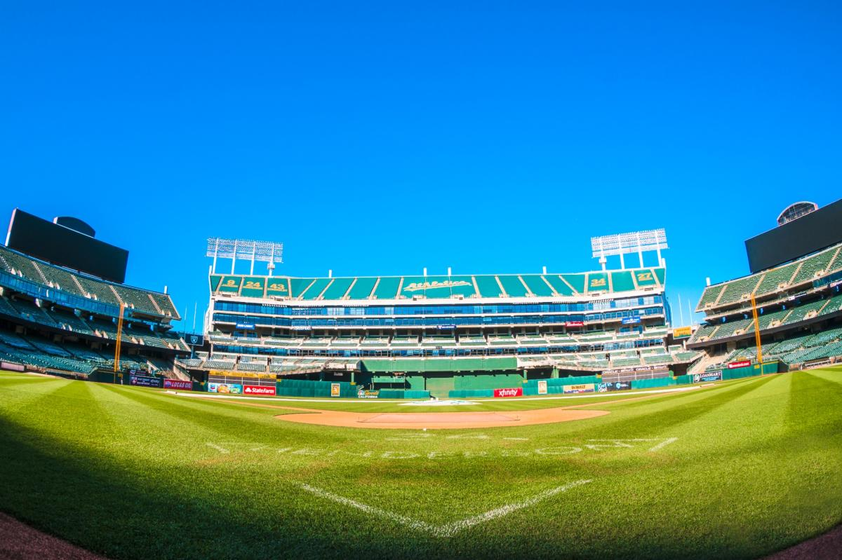 View of Oakland Alameda Coliseum from behind home plate