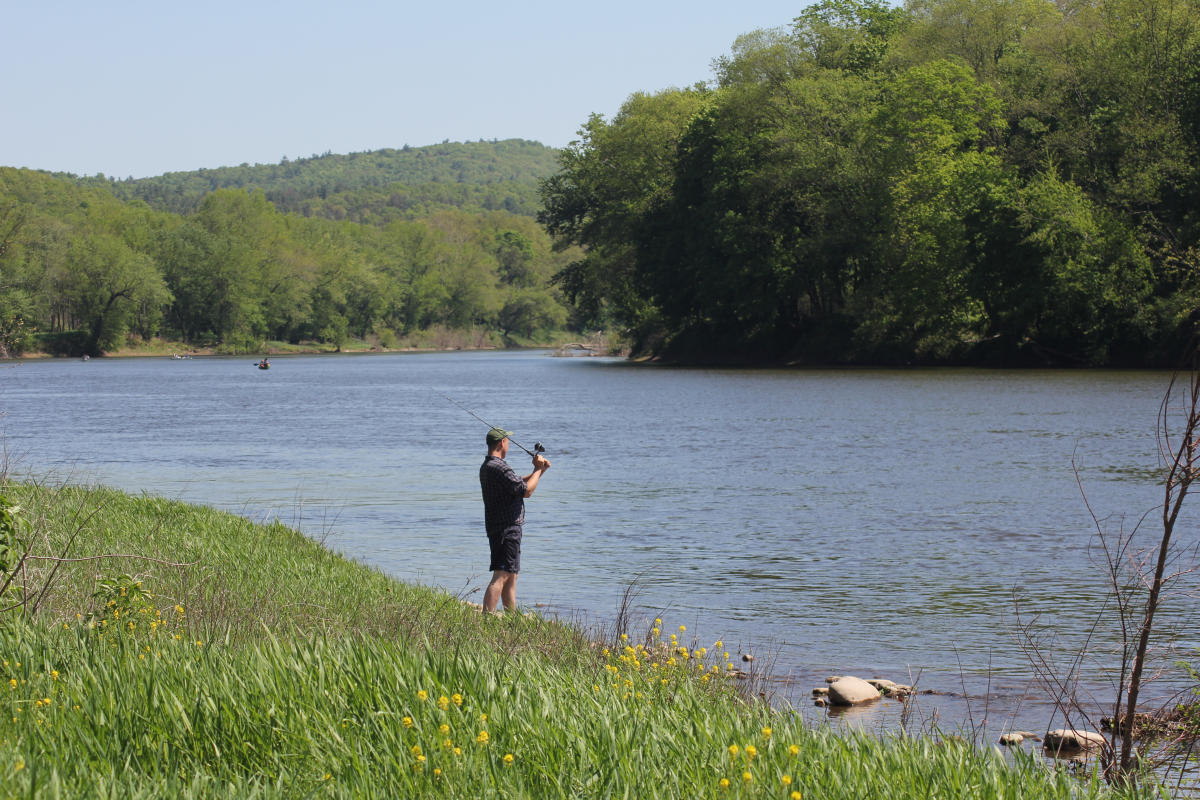 Fishing Along the Delaware River in the Pocono Mountains