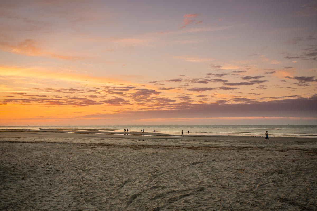 Early risers enjoy exercising on the hard-packed sand on St. Simons Island's East Beach