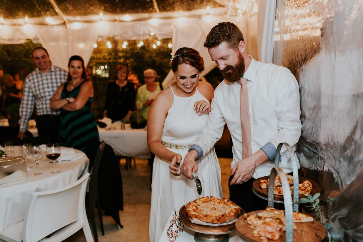 Bride and Groom with Pizza Cake