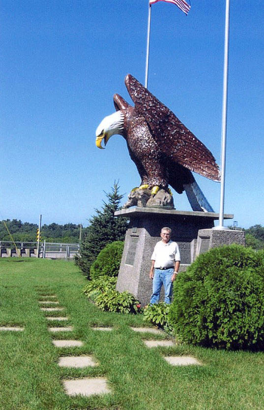 This statue commemorates the spot where an Ojibwe chief traded Old Able, then an eaglet, to a white farmer for a sack of corn. Photo courtesy Chippewa County Tourism Council