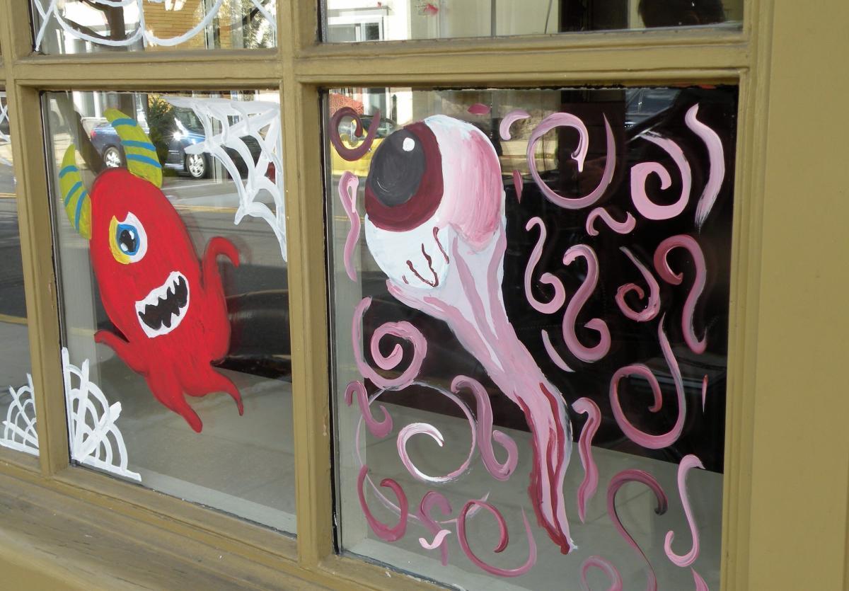 Decorated Newtown Halloween window