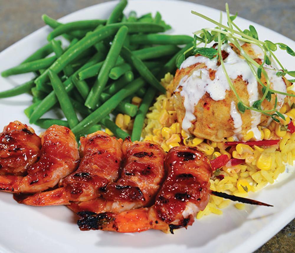 Grilled BBQ Shrimp & Crab Cake