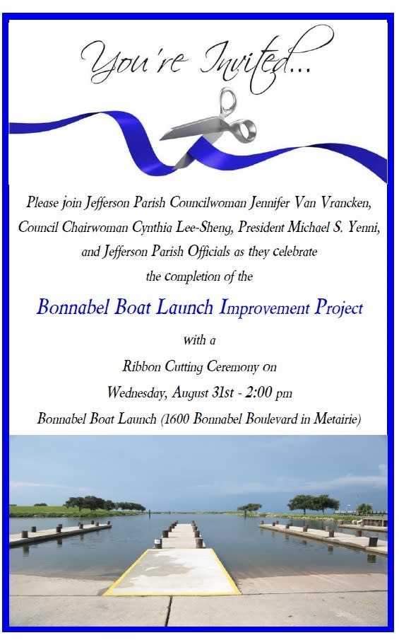 Bonnabel Boat Launch flyer