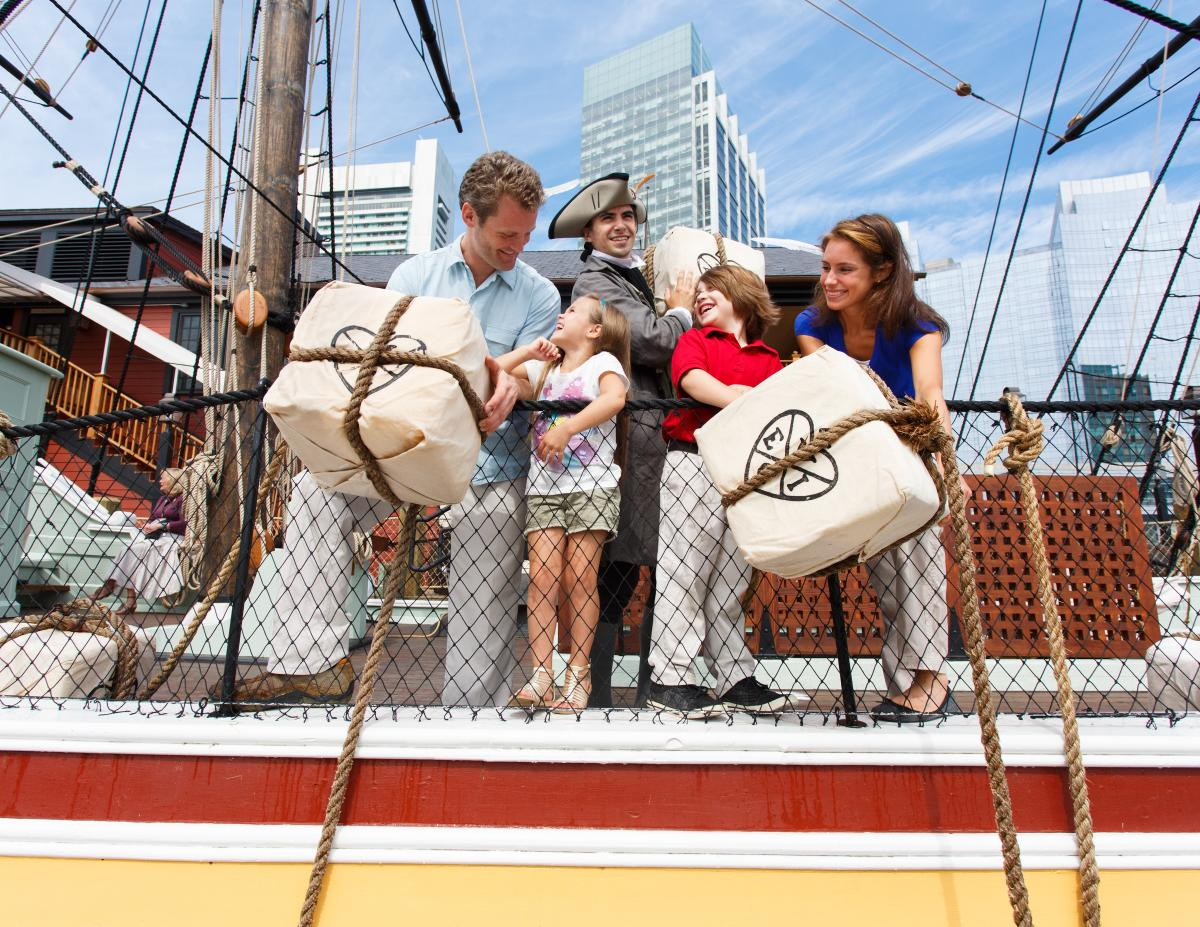 Boston Tea Party Ships & Museum - Family Throwing Tea