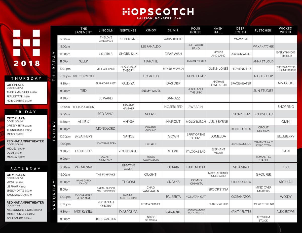 Hopscotch Music Festival schedule