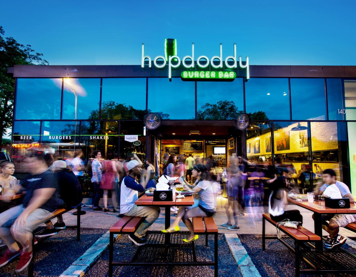 Hopdoddy South Congress patio with diners at night