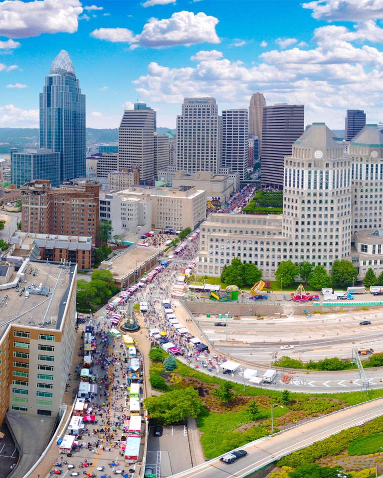 bird's eye view of taste of cincinnati on a sunny day