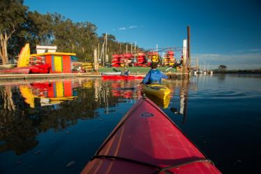 Kayaking down the bay