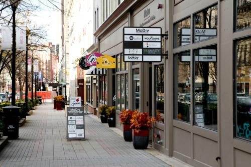 Downtown Grand Rapids storefronts with signs