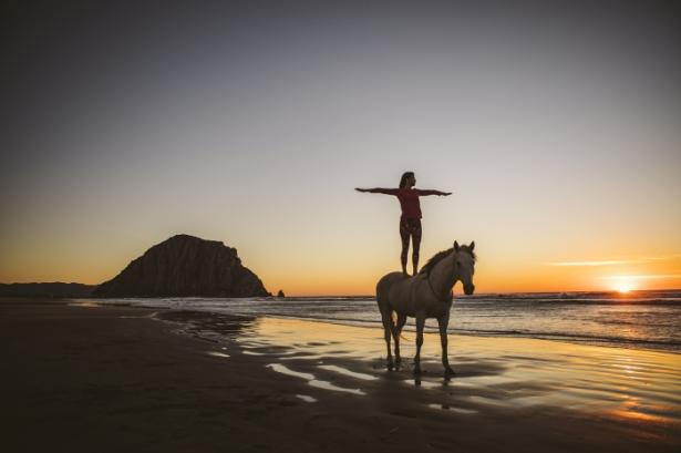 Women standing on top of a horse at the beach