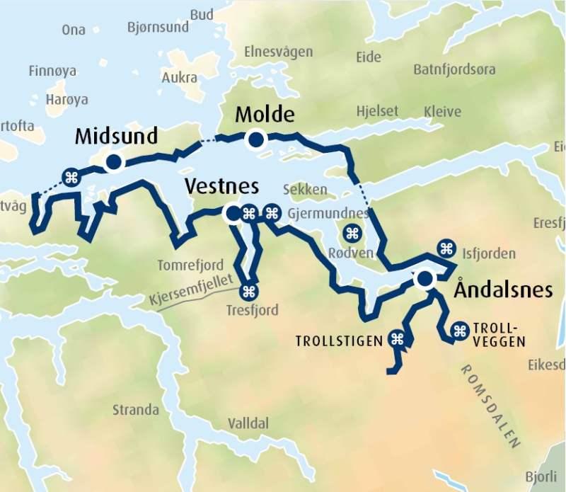 kart over trollstigen Tour suggestion by car: Åndalsnes and Trollstigen kart over trollstigen