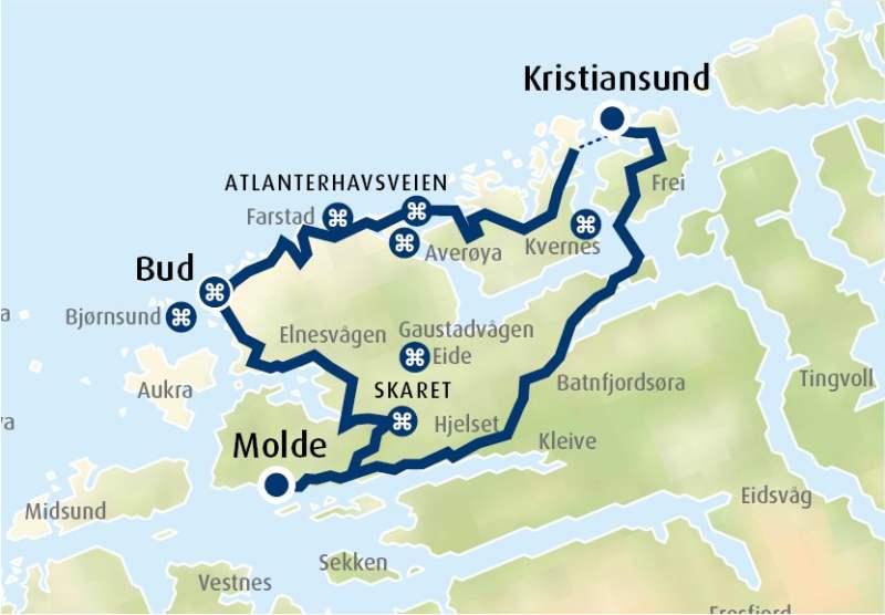 atlanterhavsveien kart Turforslag med bil: Atlanterhavsveien og Bud atlanterhavsveien kart