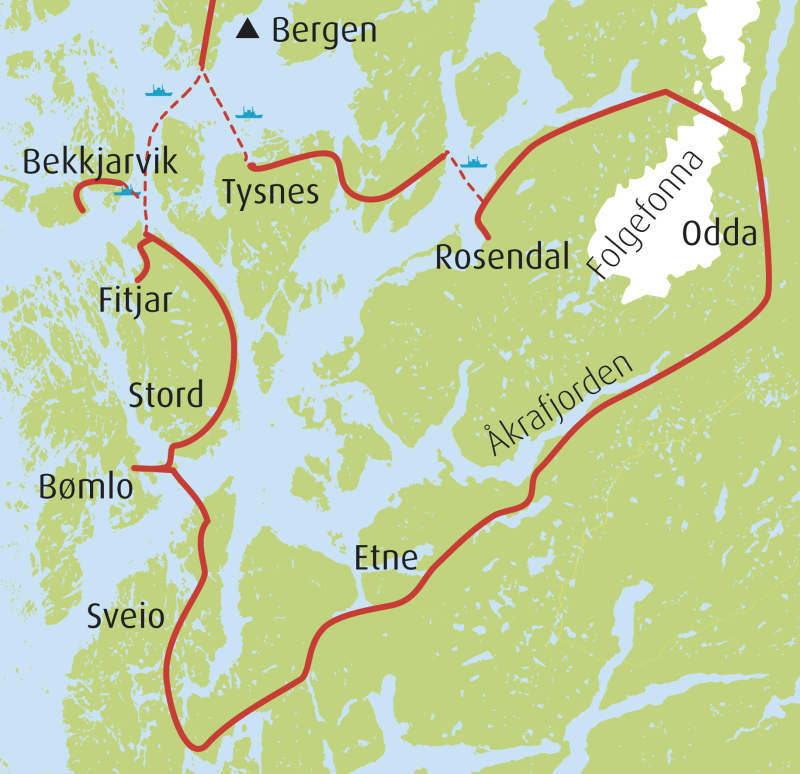 kart over rosendal Coast, fjords, waterfalls and glacier   a roundtrip in Sunnhordland kart over rosendal