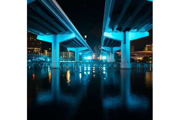 Lighted Bridge of the Selmon Expressway Downtown Tampa