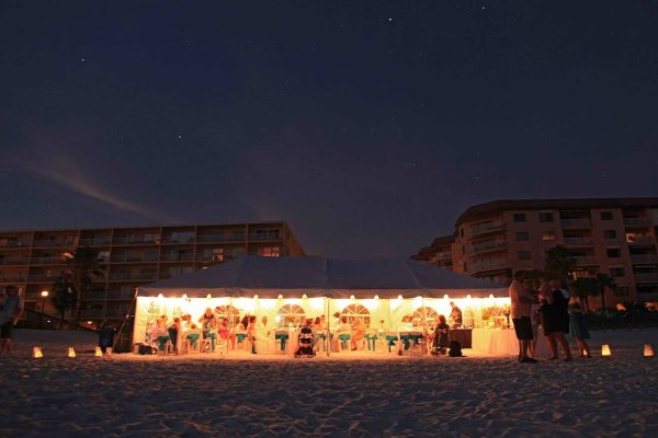 Tent Reception on Redington Beach, Florida by Gulf Beach Weddings