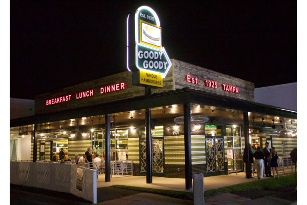Goody Goody Exterior At Night in Hyde Park Village