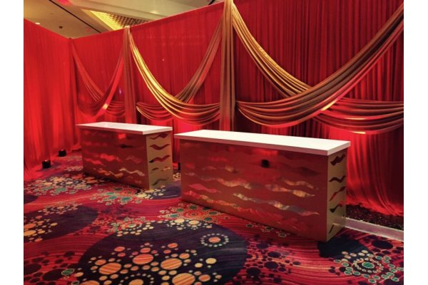 Red and Gold Drape with Gold Sea Kelp Bars