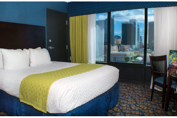 Guest room with city skyline view