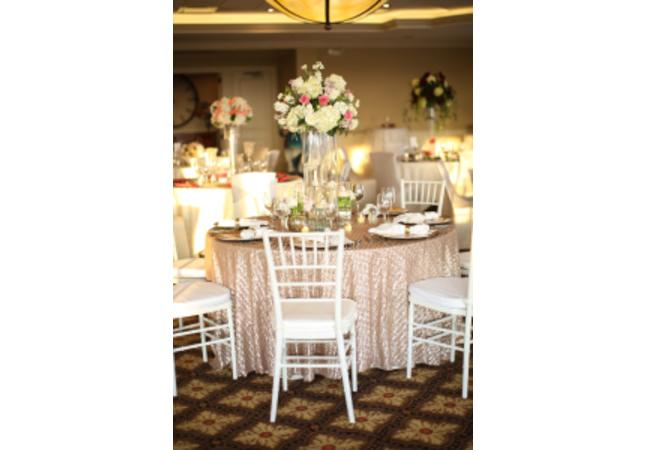 Chiavari Ballroom Chairs, Table Top and Linens