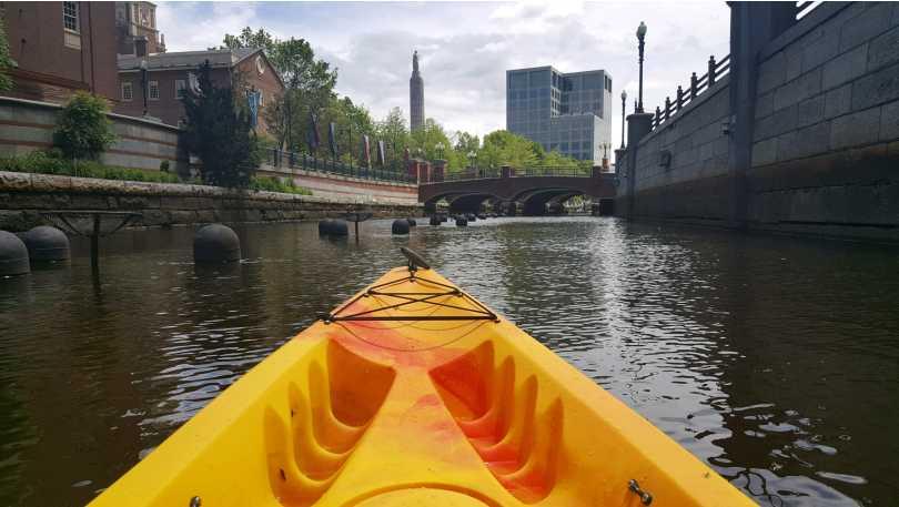 Kayaking at RISD wall