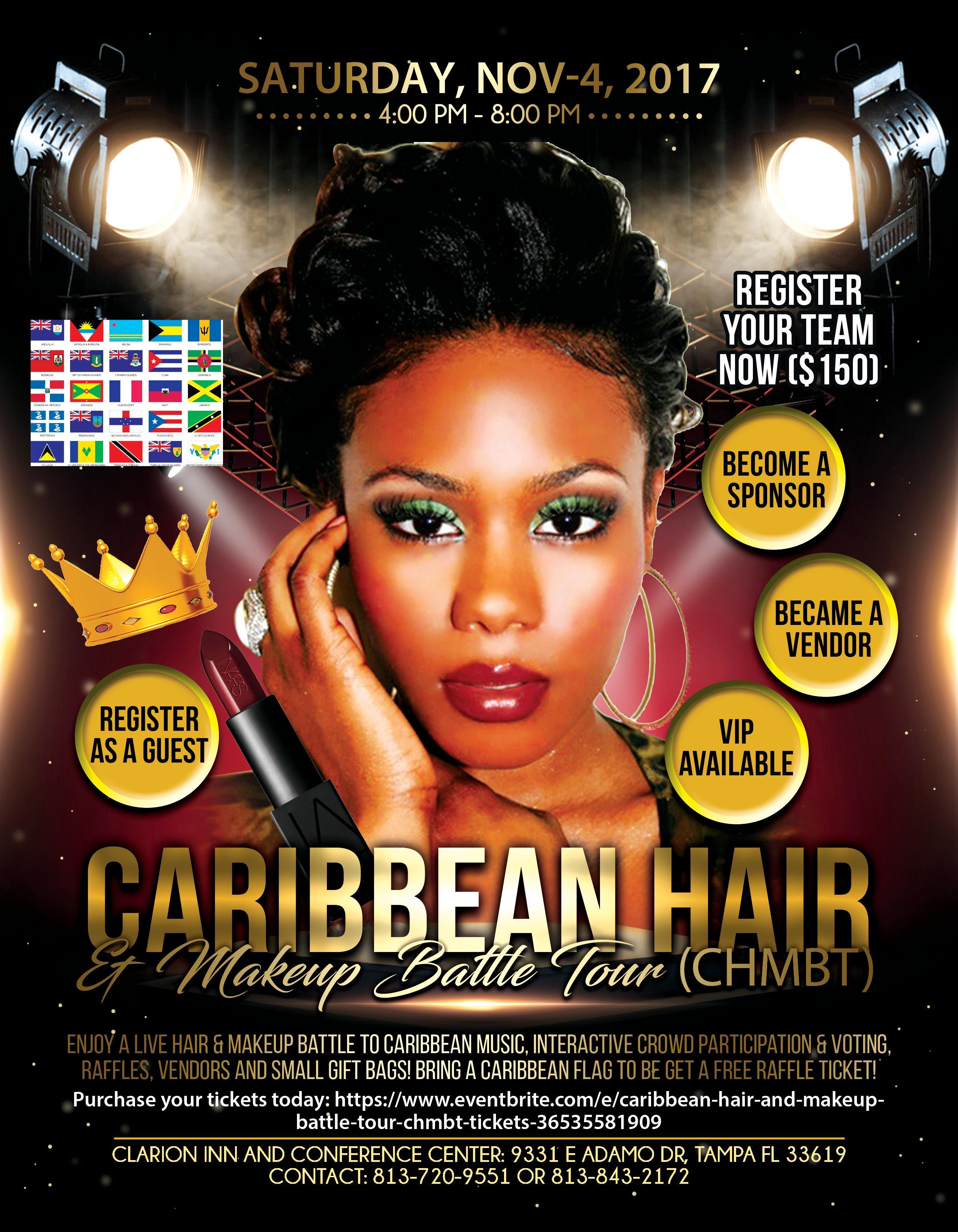 Caribbean hair and makeup battle tour