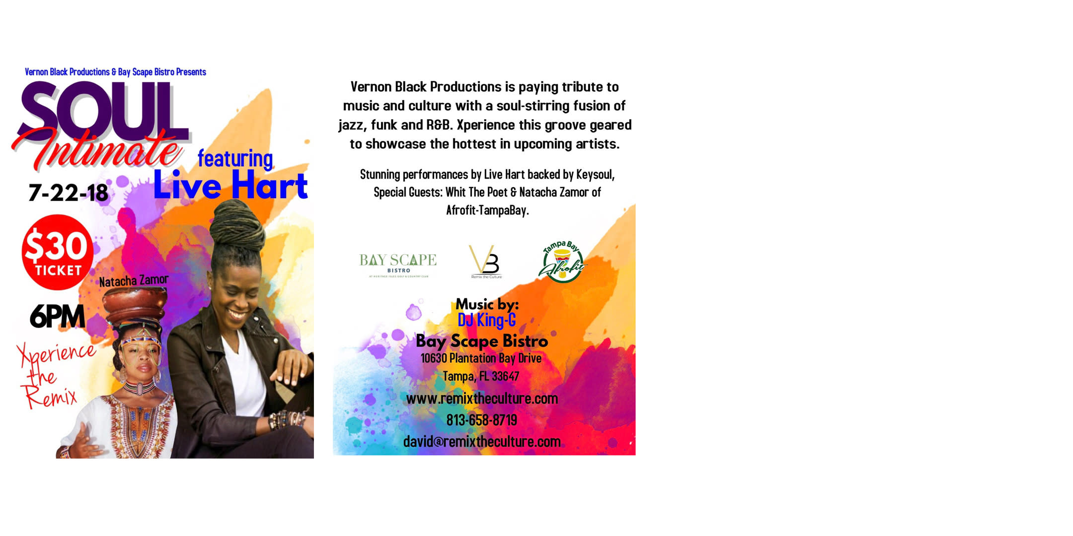 Vernon Black Productions & Bay Scape Bistro Presents: Soul Intimate featuring Live Hart