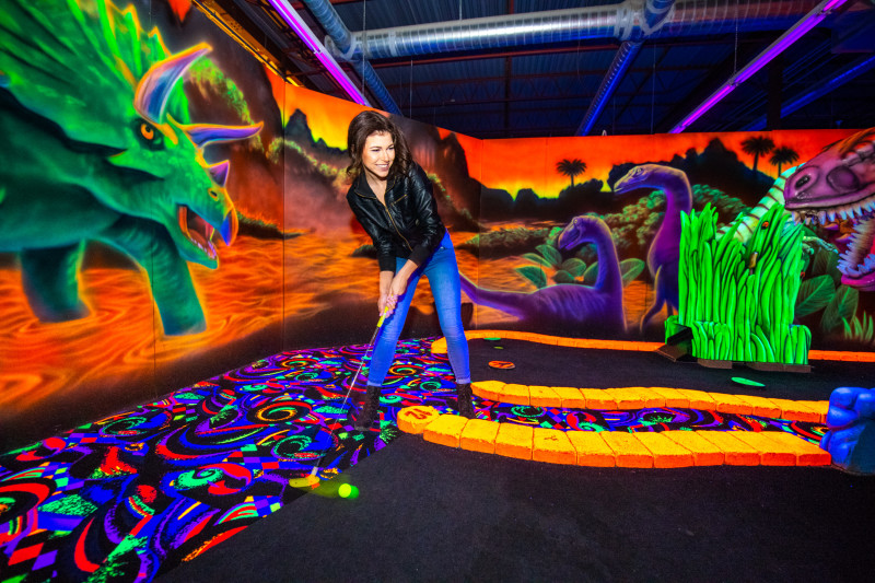 18 holes of themed black light mini golf that is sure to keep you coming back!