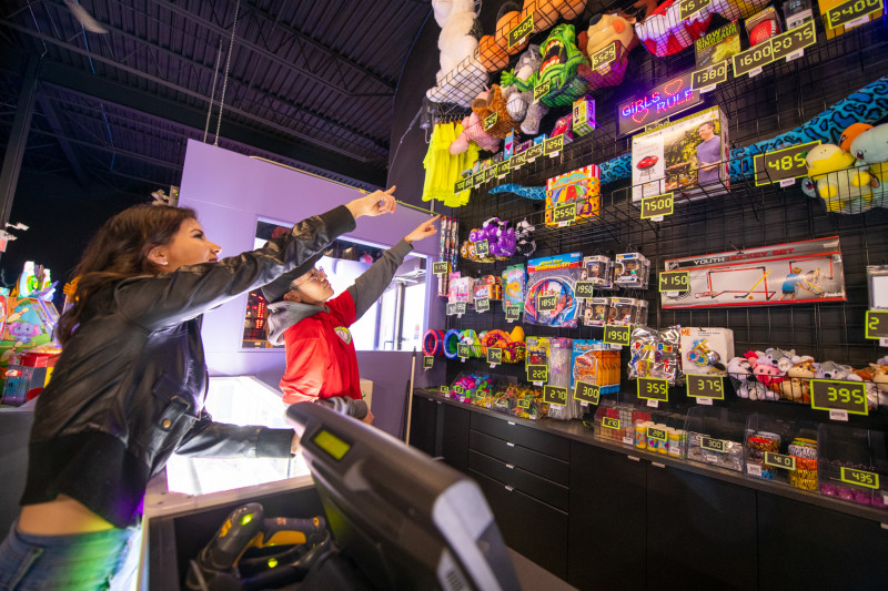 Fully stocked redemption area to cash in those hard earned tickets from the arcade!