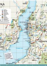 Map of Kelowna Okanagan Lake British Columbia Canada