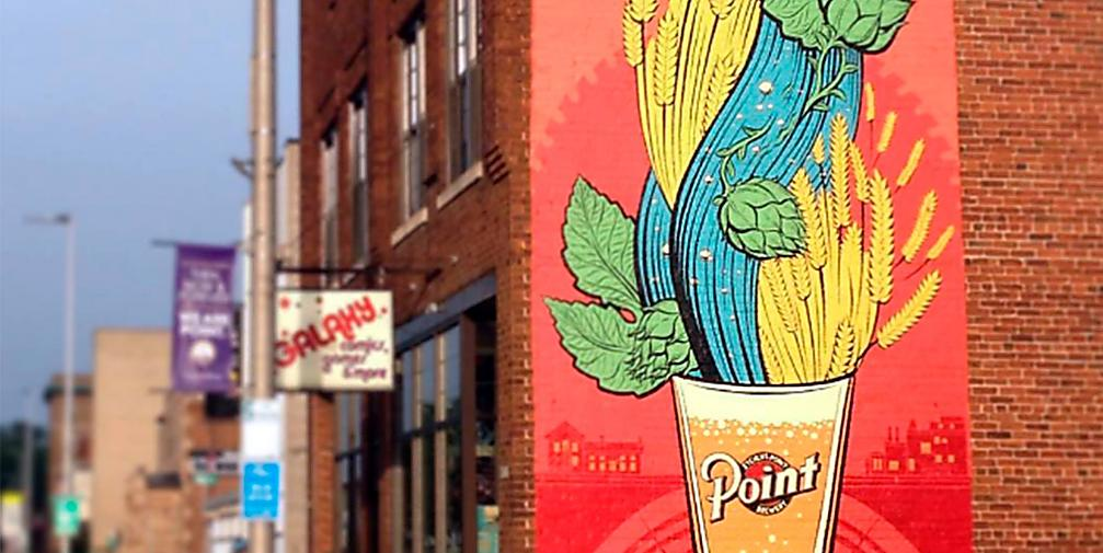 Explore the murals in the Stevens Point Area, including the newest addition at 925 Clark Street, Stevens Point. The mural honors the Stevens Point Brewery's 160th anniversary.