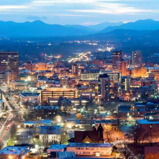 Asheville Downtown Skyline Night