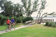 Couple biking at CB State Park