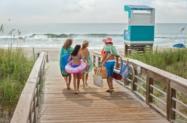 Family going to the beach at the Carolina Beach Boardwalk