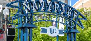 The arch entrance to the Miller Lite Beer Garden